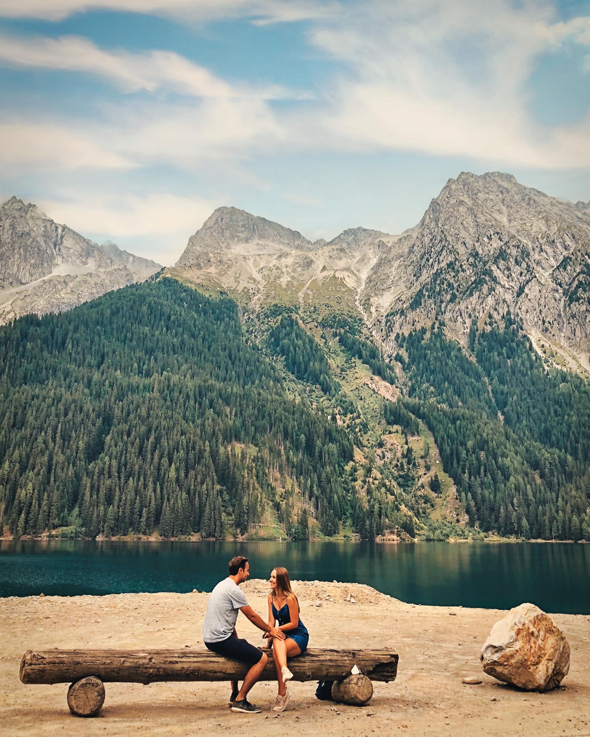 Zitbank aan het meer van Anterselva