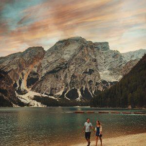 Zonsondergang aan Lago di Braies