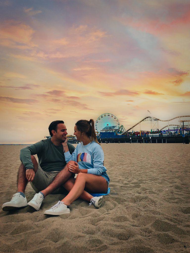 Een typische Los Angeles zonsondergang aan de Santa Monica Pier