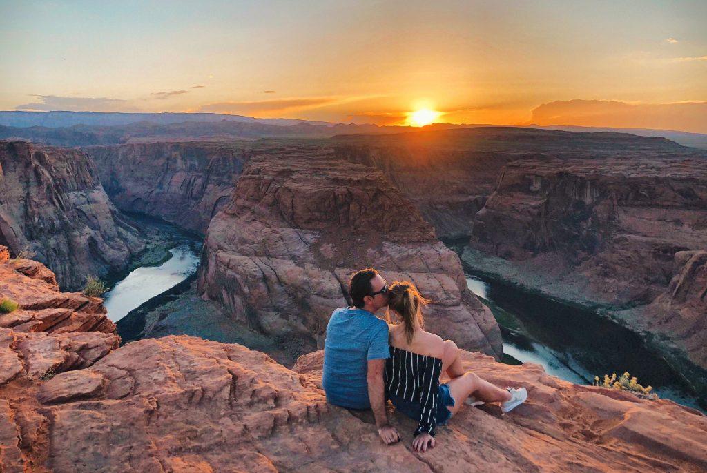 Romantische zonsondergang Page Arizona