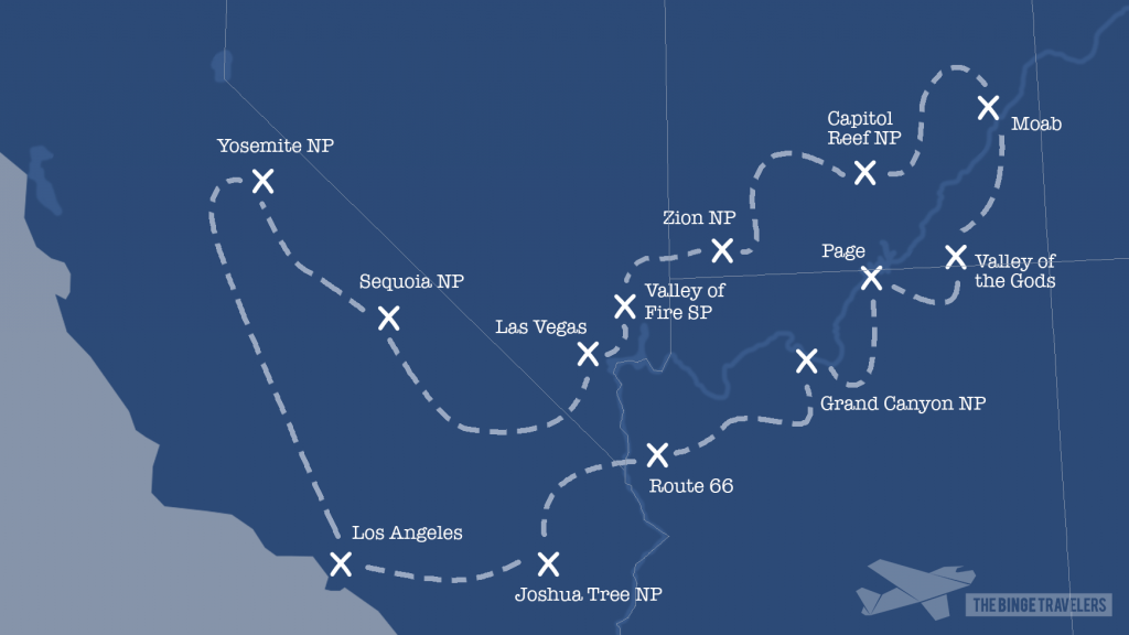 Kaart roadtrip West-Amerika