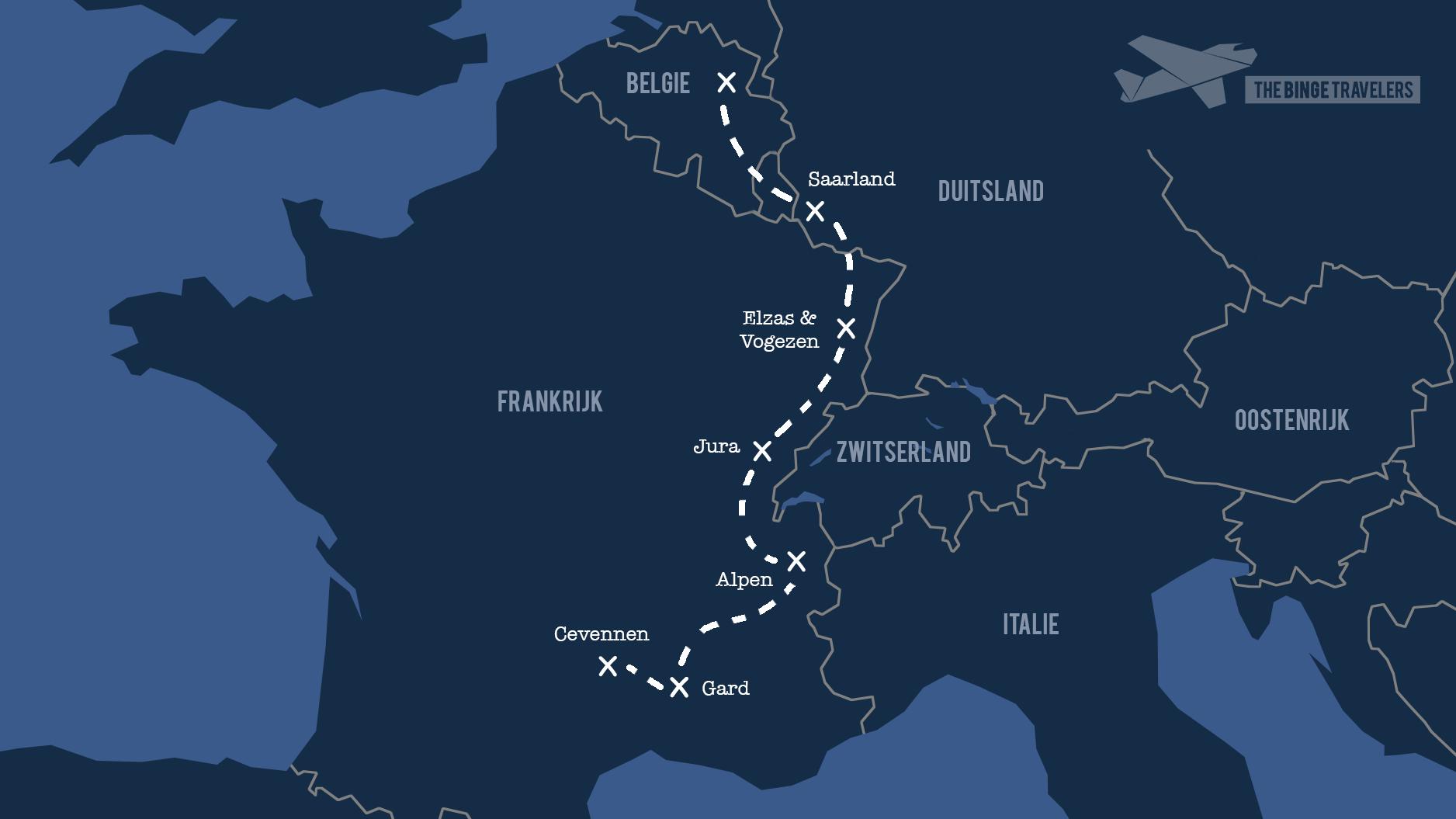 Reisroute Frankrijk